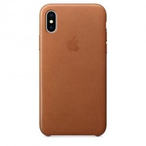 Apple Leather Case iPhone X חום