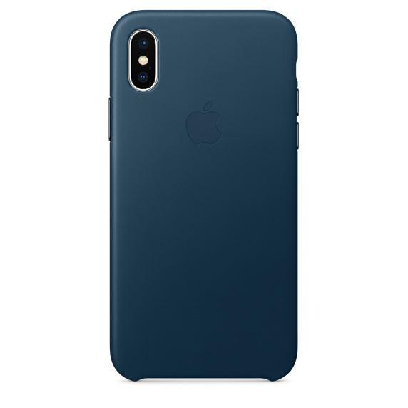 Apple Leather Case iPhone X כחול מידנייט